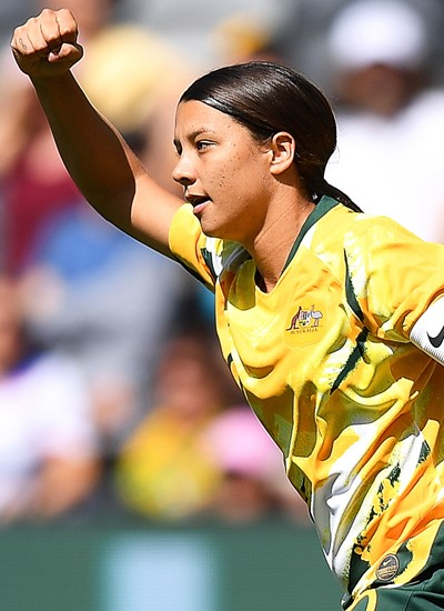 Sam Kerr of Australia celebrates after scoring a goal during the women's International friendly soccer match between Australia and Chile in Sydney, Australia, 09 November 2019.